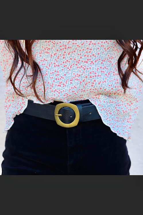 Waist My Time Belt: Black/Gold