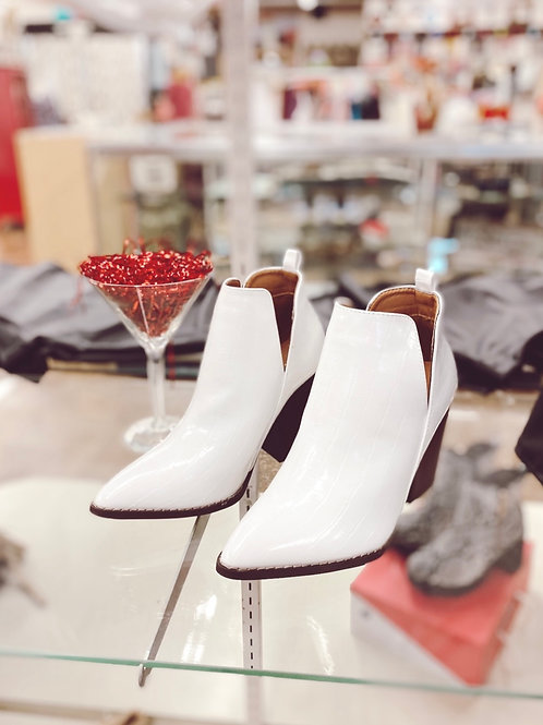 Brittany White Snakeskin Booties