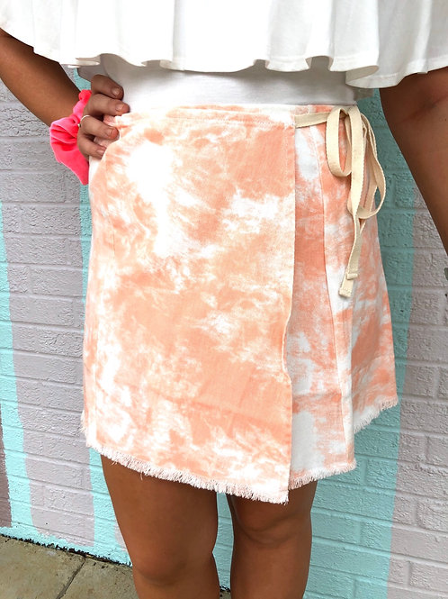 Seaside Skies Wrap Skirt: Peach