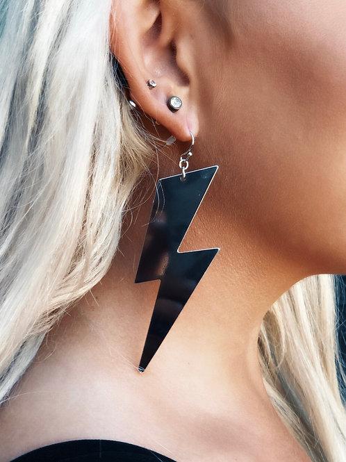 Lightning in a Bottle Statement Earrings: Silver