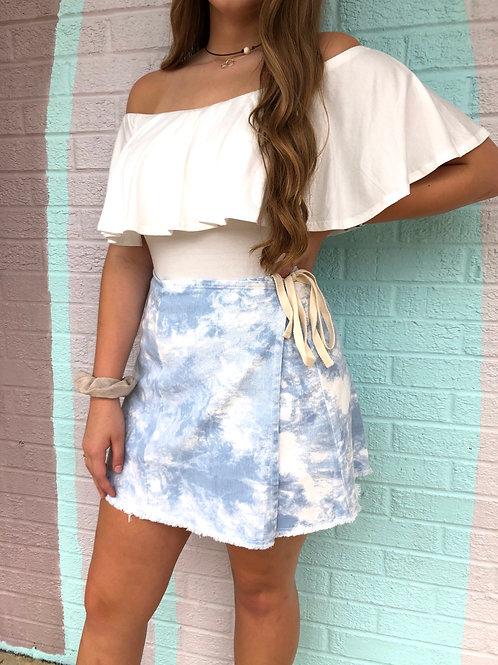 Seaside Skies Wrap Skirt: Sky Blue
