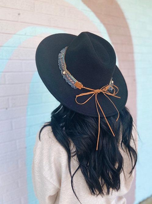 Leave Her Wild Boho Wide Brim Hat: Black