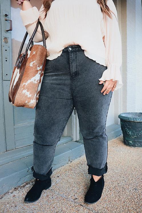 Hannah Black Distressed Curvy Mom Jeans