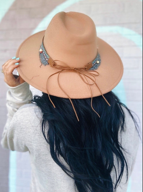 Leave Her Wild Boho Wide Brim Hat: Light Brown