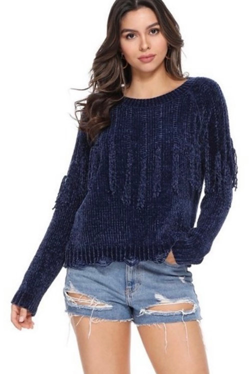 You Make Me Fringe Chenille Sweater