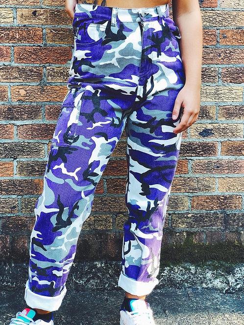 Purple Lagoon Straightleg Camo Pants
