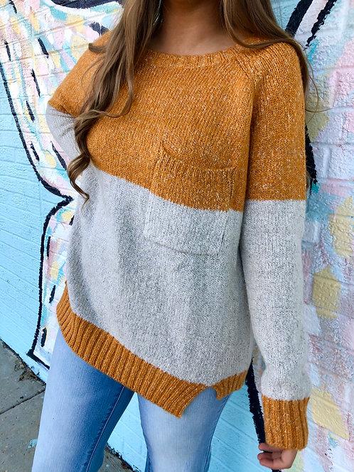 Safe Keeping Colorblock Sweater: Mustard