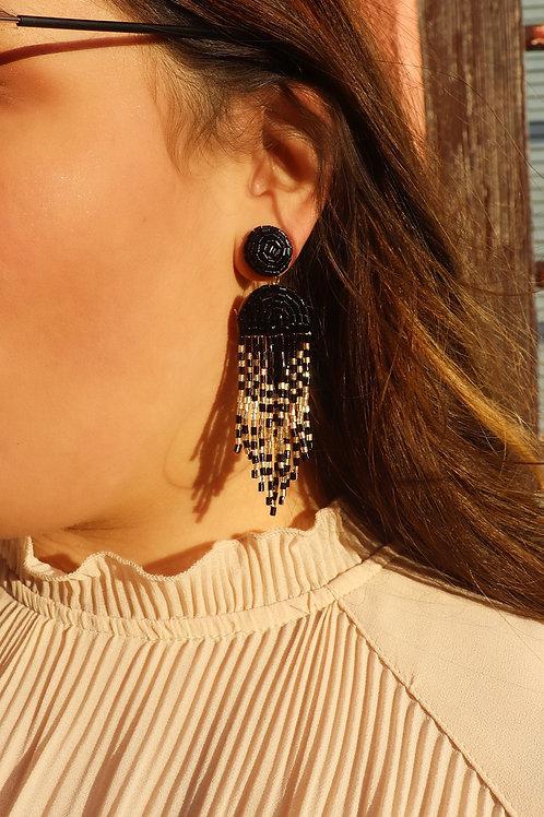 Opal Jewels Beaded Drop Earrings: Black