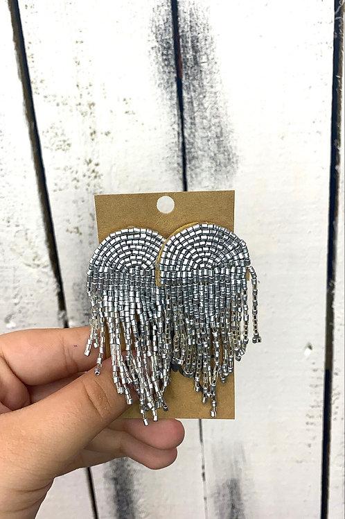 Opal Jewels Beaded Rainbow Earrings: Silver