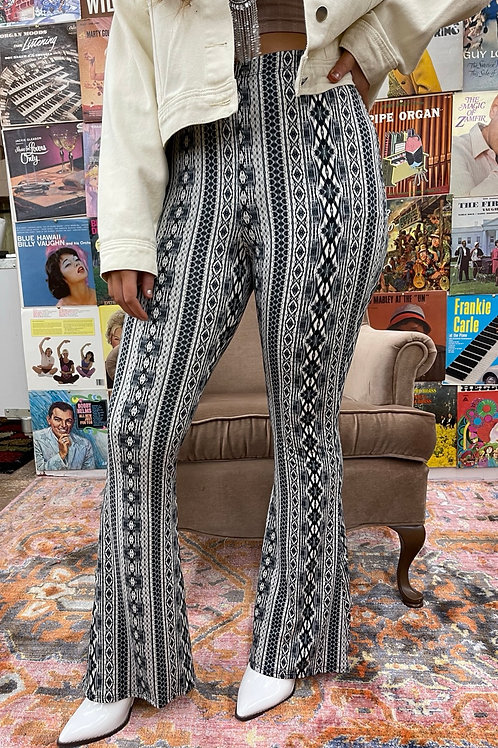 No Place Like Home Printed Flares: Grey