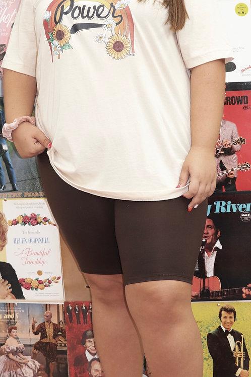Wild Hogs Curvy Biker Shorts: Brown