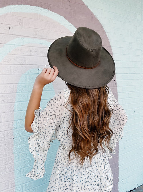 Sunshine and Whiskey Suede Wide Brim Hat: Olive