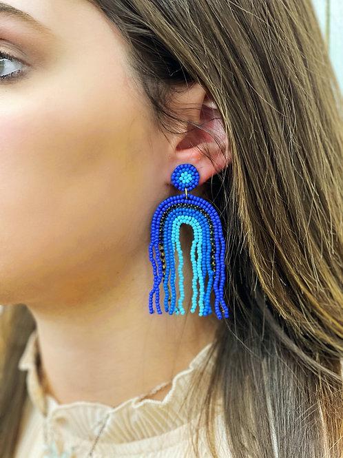 Jojo Beaded Rainbow Earrings: Blue