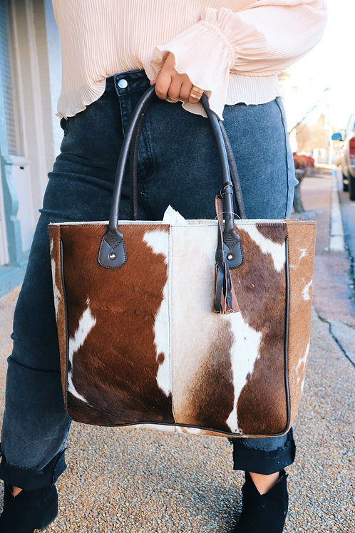 Giddy Up Cowhide Leather Tote