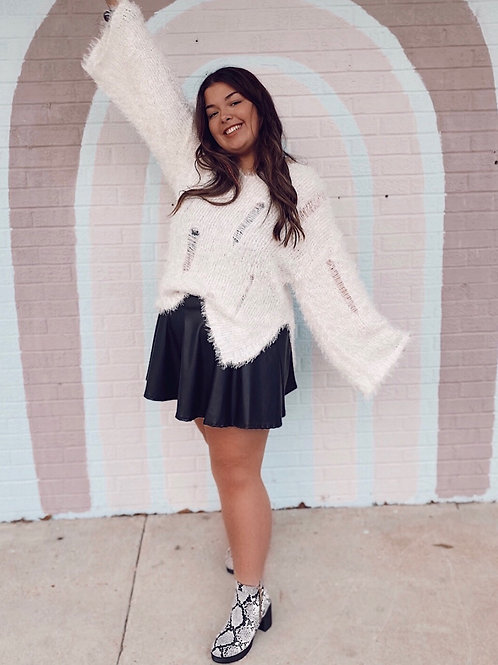 Dreaming of a White Christmas Fuzzy Distressed Sweater