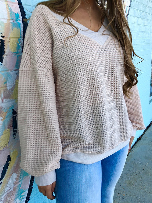 What You Need Waffle Knit V-Neck Top: Beige