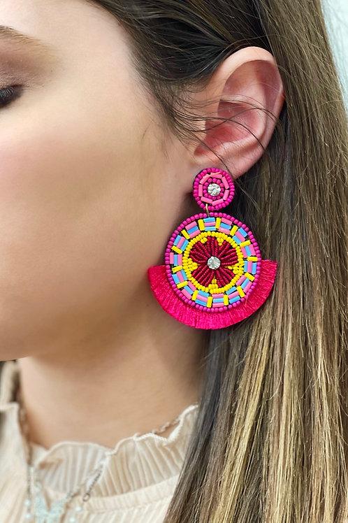 Sophia Beaded Fringe Statement Earrings: Pink Mix
