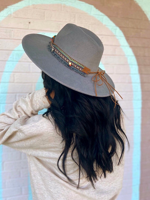 Leave Her Wild Boho Wide Brim Hat: Grey