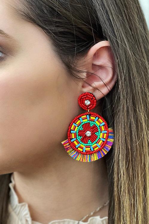 Sophia Beaded Fringe Statement Earrings: Red Mix