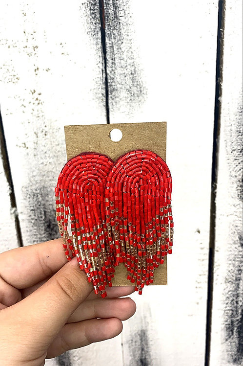 Opal Jewels Beaded Rainbow Earrings: Red