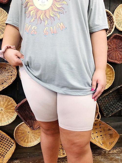 Wild Hogs Curvy Biker Shorts: Taupe