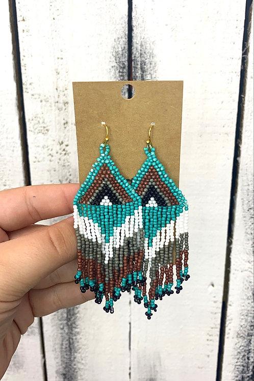 Opal Jewels Beaded Boho Earrings: Turquoise Mix