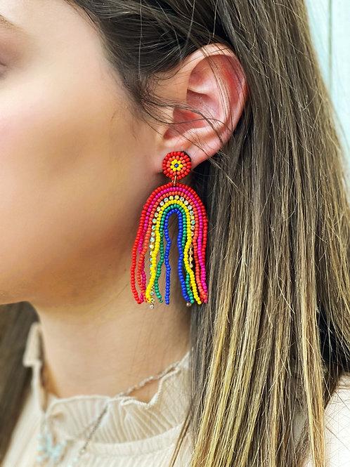 Jojo Beaded Rainbow Earrings: Multi