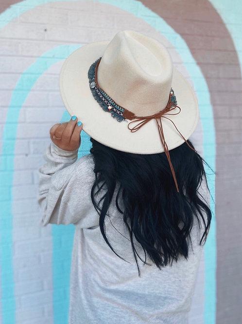 Leave Her Wild Boho Wide Brim Hat: Ivory