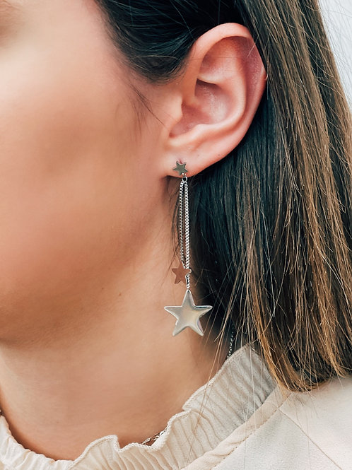 Mia Tiered Star Earrings: Silver