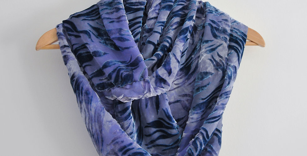 Blue, lilac flame - Silk Devore infinity scarf