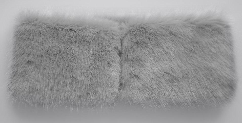 Faux Fur Collar Muffs - Oyster