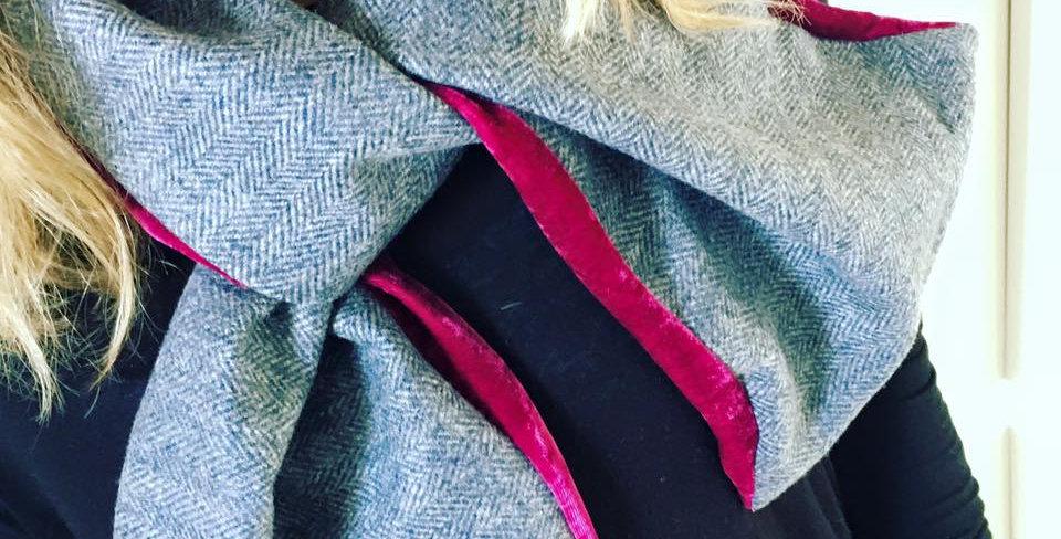 Hot pink velvet and light grey tweed scarf