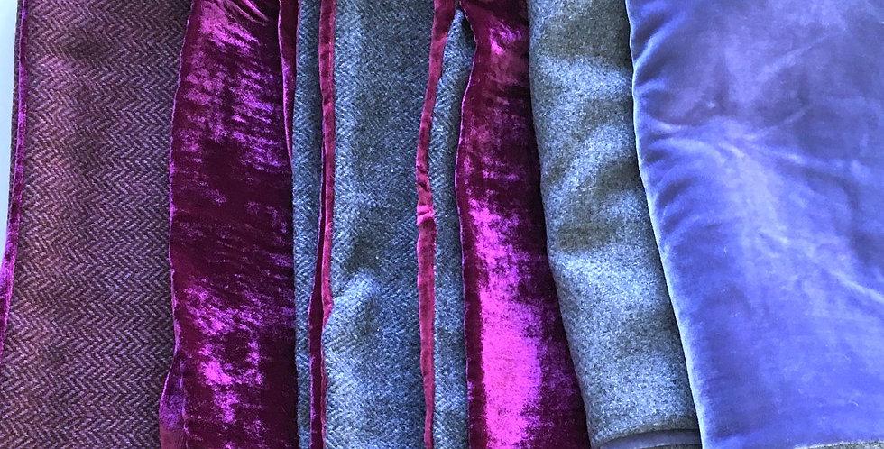 Hot pink velvet and burgundy  tweed scarf