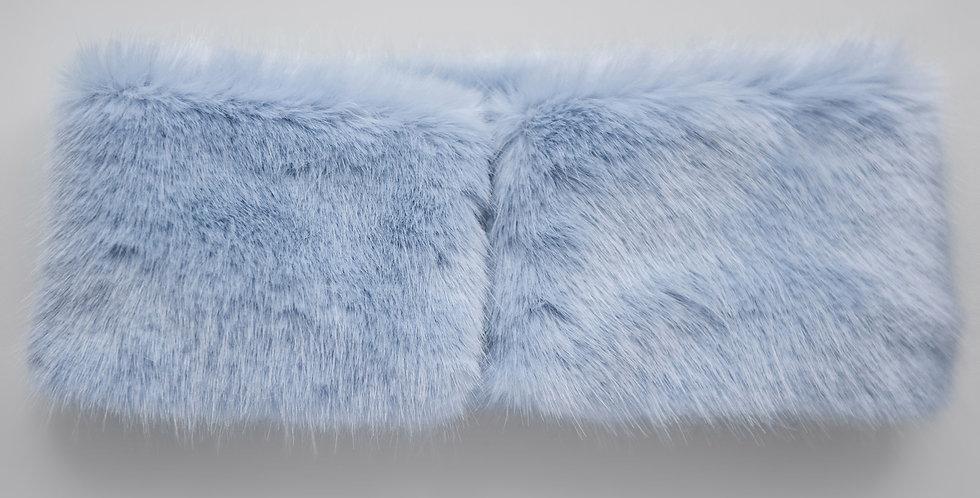 Faux Fur Collar Muffs - Powder Blue