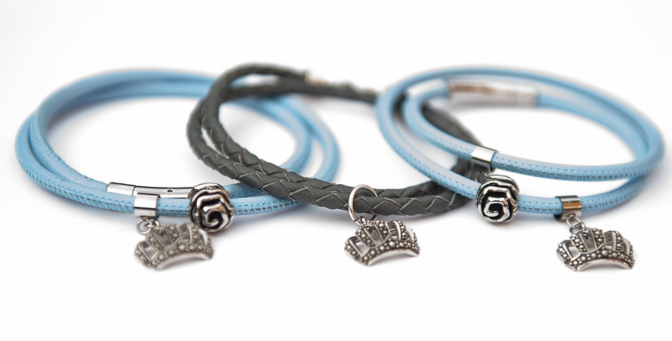 Leather bracelets with stainless steel rose and cr