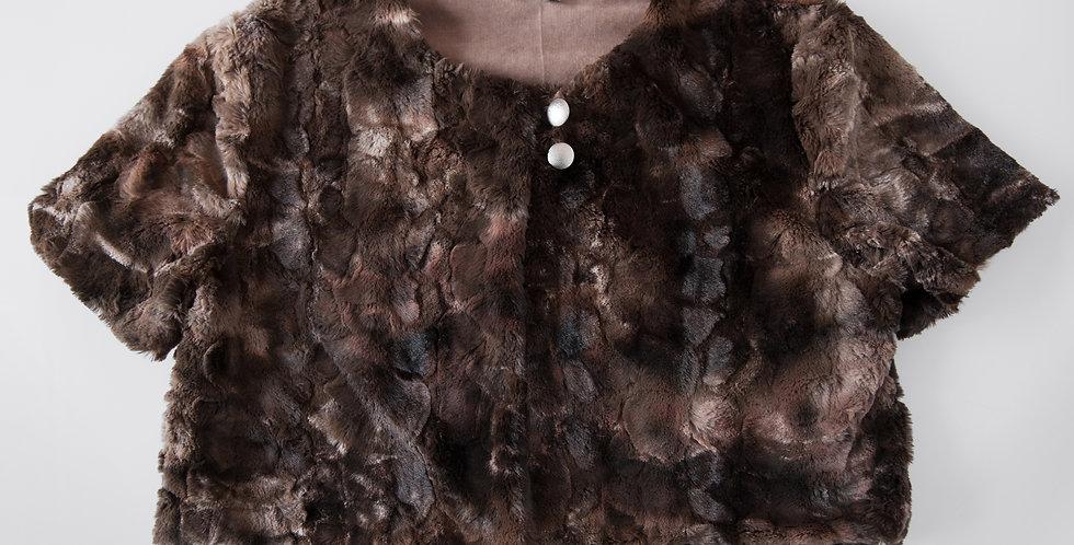 Short Box Jacket - brown crushed faux fur