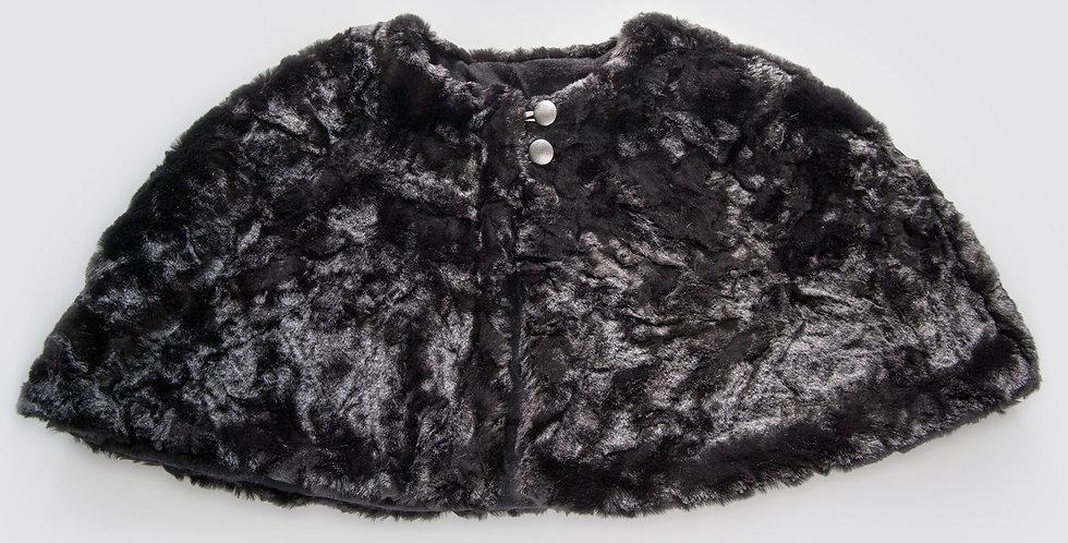 Black Crushed Faux Fur Cape