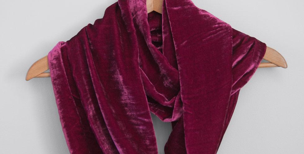 Hot Pink - Silk velvet infinity scarf