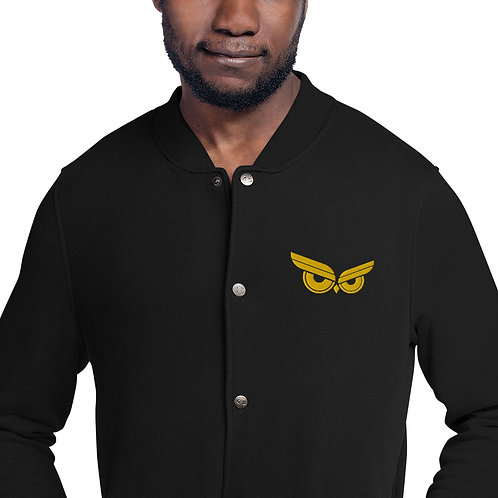 Moziah Sig Gold Owl Embroidered Champion Bomber Jacket