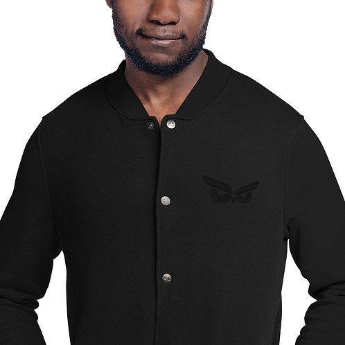 Moziah Sig Black Owl Embroidered Champion Varsity Jacket