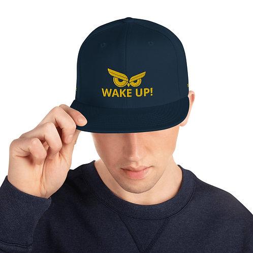 Wake Up! Gold Owl Snapback Hat