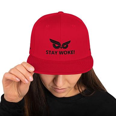Stay Woke! Black Owl Snapback Hat