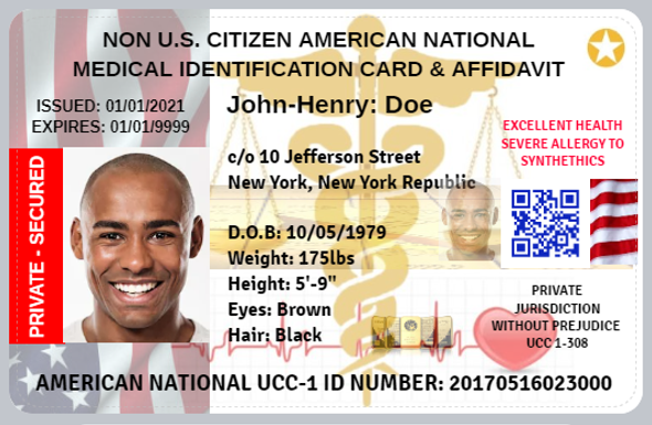 PRIVATE MEDICAL IDENTIFICATION CARD & AFFIDAVIT