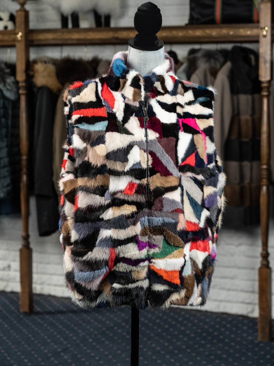 Mink Multi Colored Zip Vest