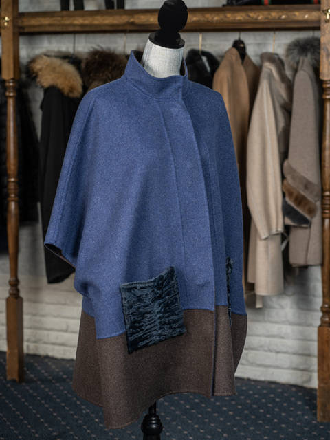 100% Cashmere Navy & Brown Reversible Cape