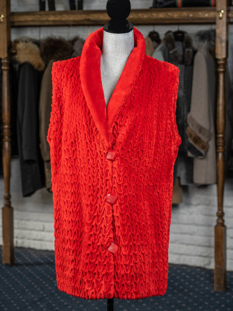 Red Textured Sheared Beaver Vest