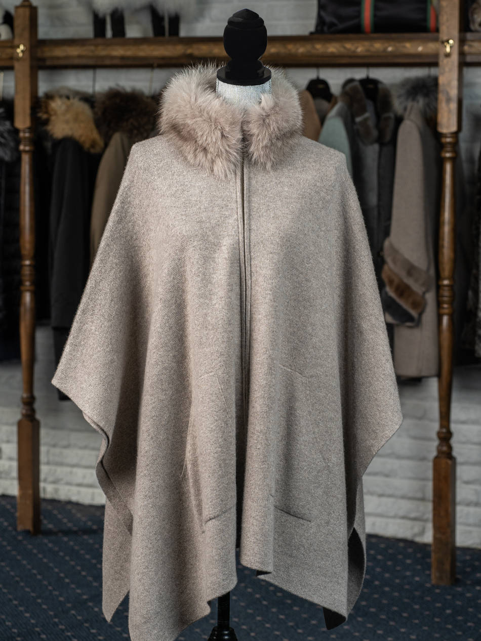 Taupe 100% Cashmere Cape with Fox Collar