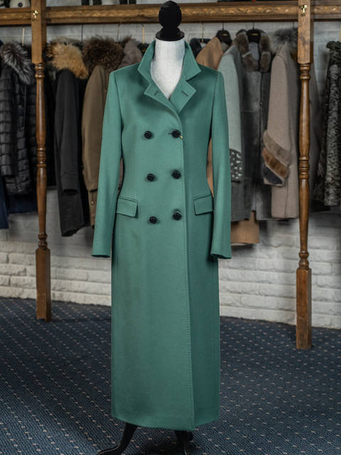Green Cashmere Full Length Military Coat