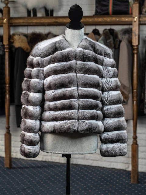 Black Velvet Horizontal Chinchilla Zip Jacket