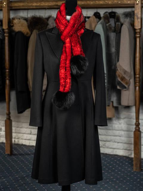 Black Cashmere Flounce 7/8 Coat